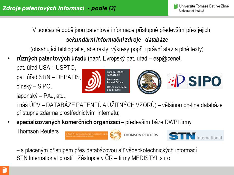 Zdroje patentových informací - podle [3]